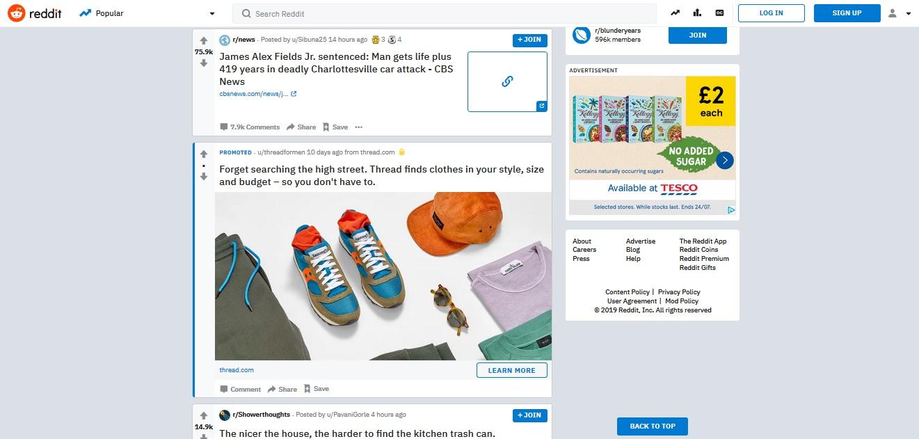 """Un annuncio """"In-feed"""" conduce l'utente fuori dal sito dell'editore."""